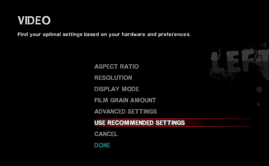 Left 4 Dead 2 的 Video 設定畫面