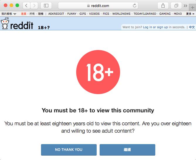 國外網站 reddit 的「已滿 18 歲宣告」畫面